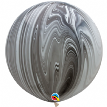 Giant SuperAgate Balloons - Black & White (30 Inch) 2pcs